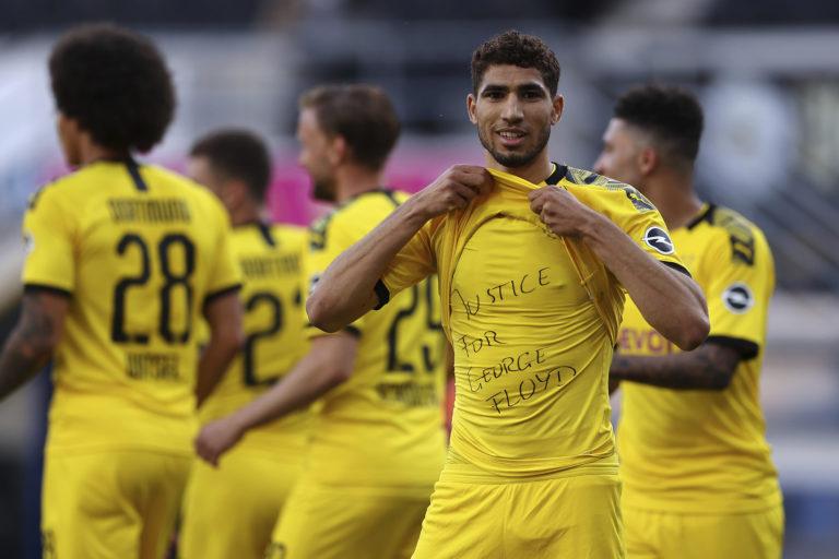 Achraf Hakimi also displayed a message after scoring for Dortmund