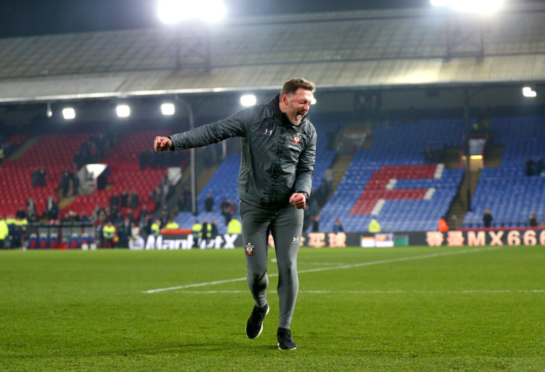 Hasenhuttl celebrates a victory away to Crystal Palace