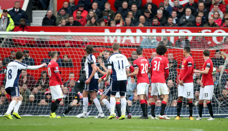 Chris Brunt scoring for West Brom at Old Trafford