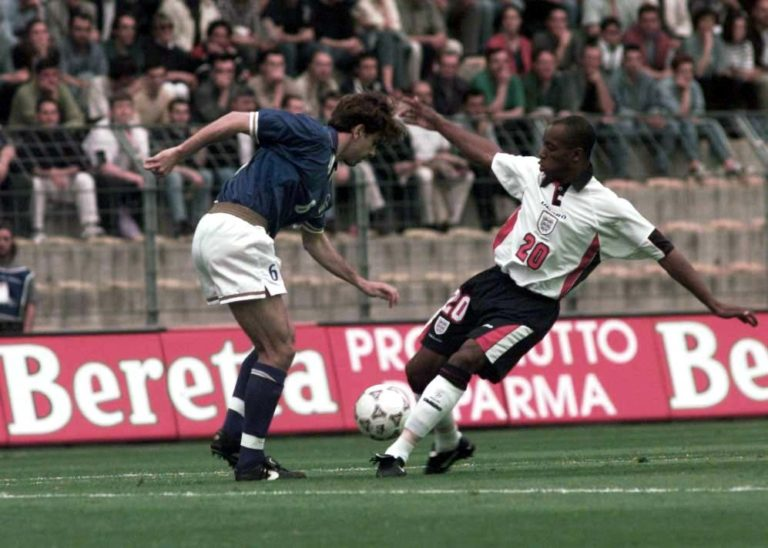 Ian Wright scored England's first goal against the Azzurri.