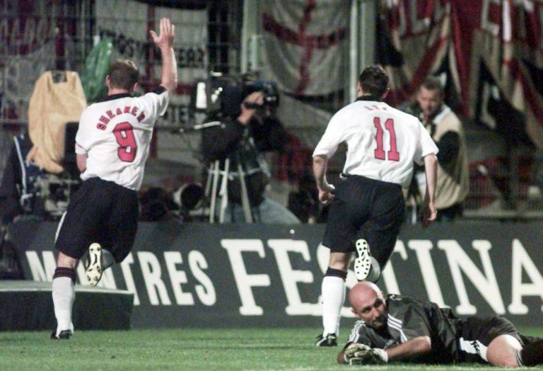 Alan Shearer celebrates the winning goal against France.
