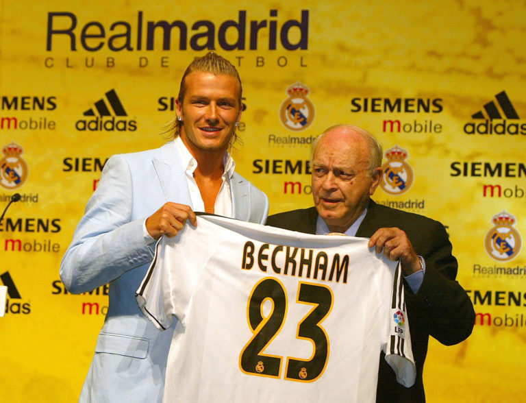 David Beckham, left, at his Real Madrid unveiling in July 2003 (Martin Rickett/PA)