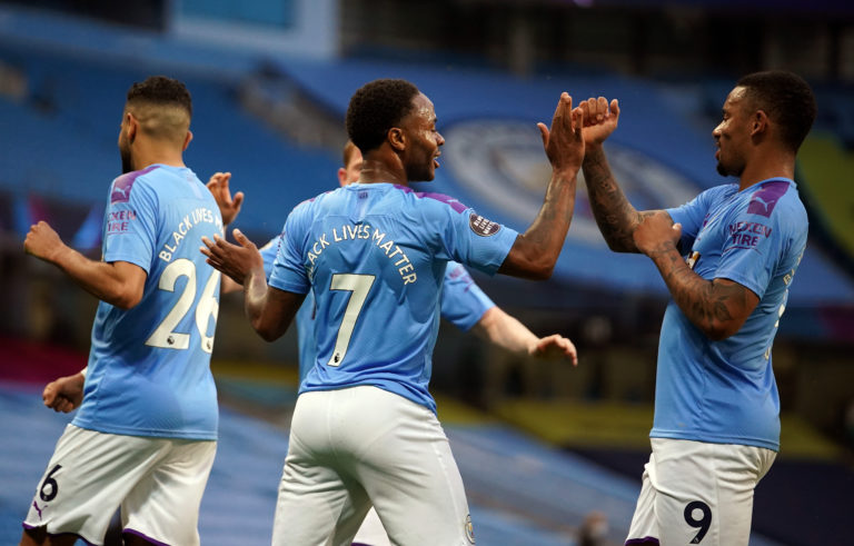 Manchester City's Raheem Sterling scored the first goal of the Premier League's restart