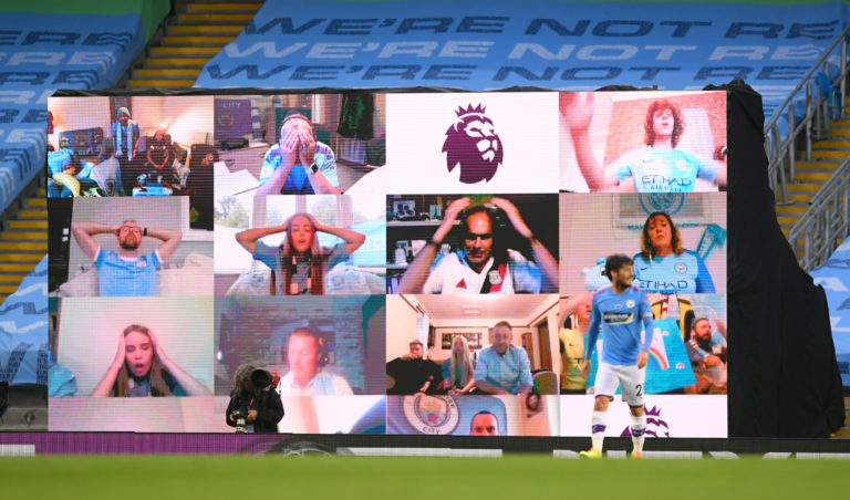 Manchester City fans reacted on the big screen