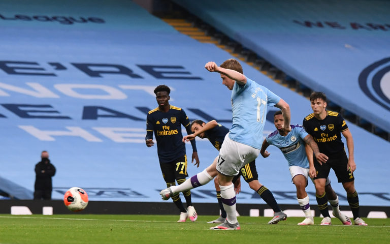 Kevin De Bruyne scored City's second goal from the penalty spot