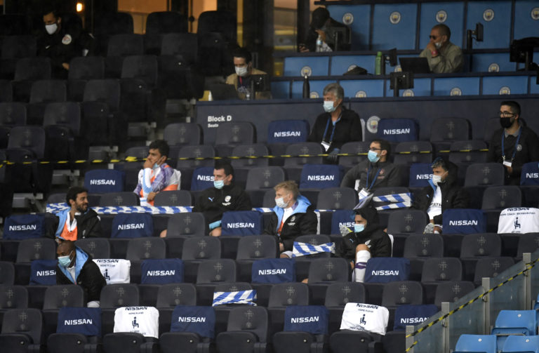 City substitutes were social distancing in the stand
