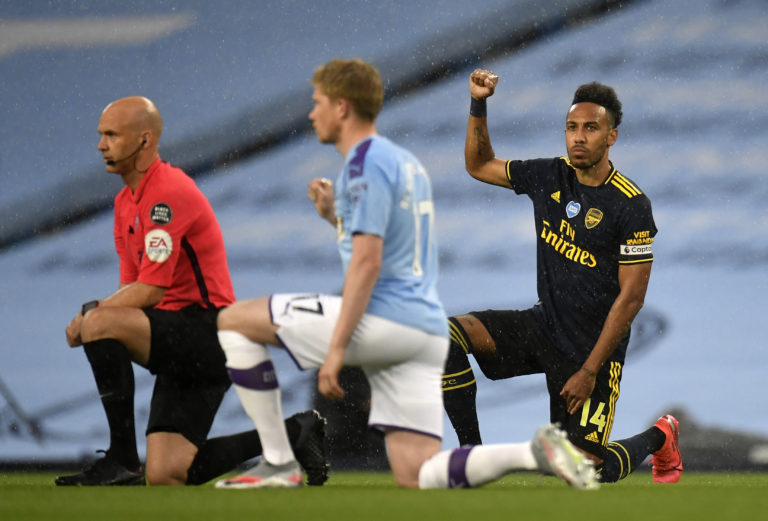 Manchester City and Arsenal players took a knee on Wednesday after those at Aston Villa and Sheffield did the same