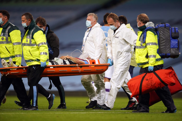 Eric Garcia left the field on a stretcher on Wednesday evening