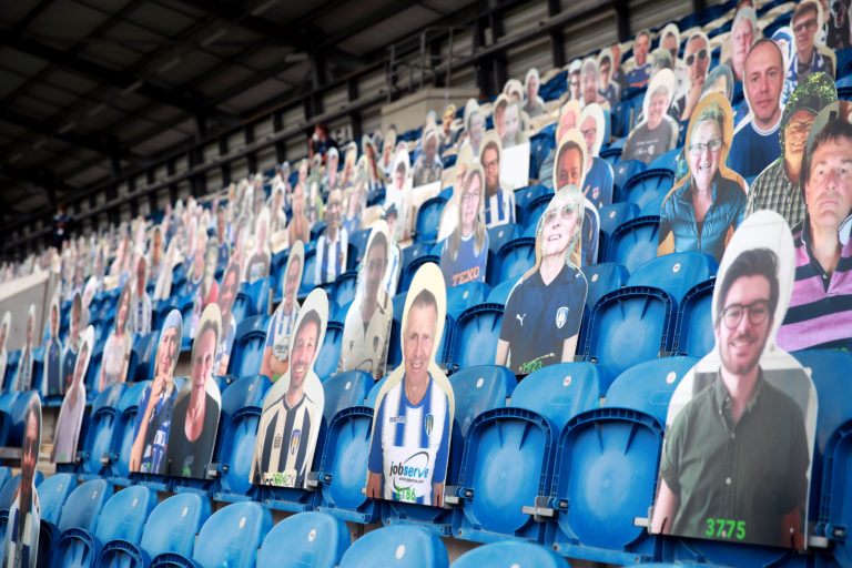 There were cardboard cutout fans at the JobServe Community Stadium
