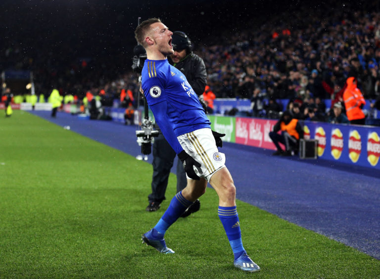 Jamie Vardy scored his 99th top-flight goal against Aston Villa in March