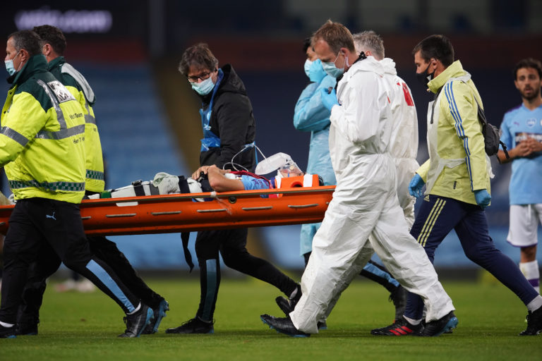 Eric Garcia suffered a concussion against Arsenal after a nasty accidental collision with City team-mate Ederson (Dave Thompson/NMC Pool)