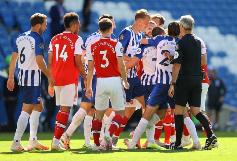 Arsenal reacted angrily towards Maupay at full-time