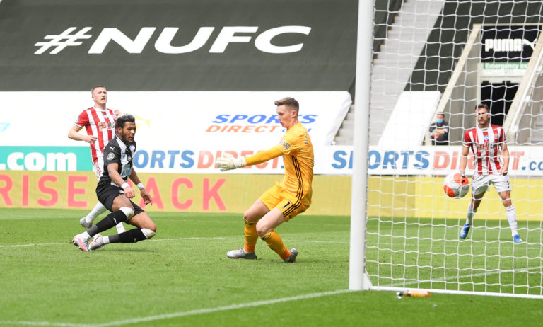 Joelinton scores his second goal for Newcastle, 301 days after the first