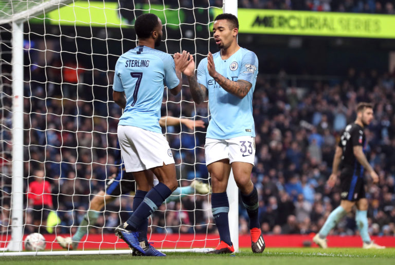 Manchester City boss Pep Guardiola believes he has plenty of his options as alternatives to Leroy Sane, including Raheem Sterling, left, and Gabriel Jesus, right (Martin Rickett/PA)