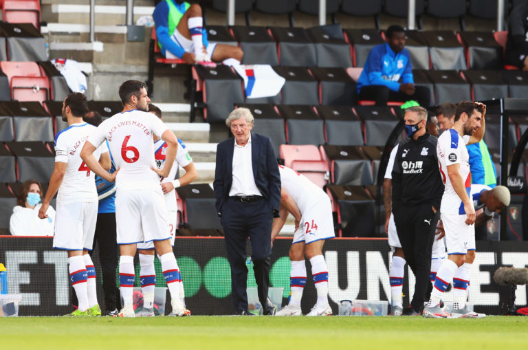 Crystal Palace manager Roy Hodgson talks to his team during their return to the Premier League