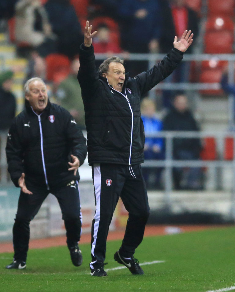 Neil Warnock, pictured here managing against Middlesbrough, kept Rotherham up in 2016