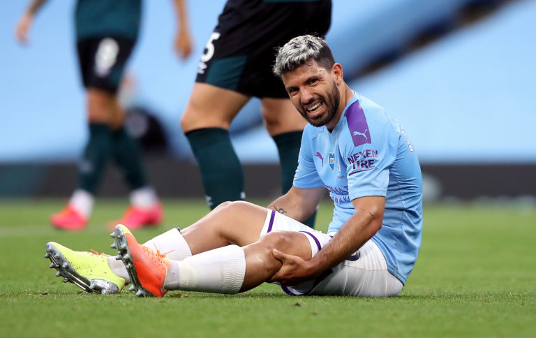 Sergio Aguero was forced off with a knee injury