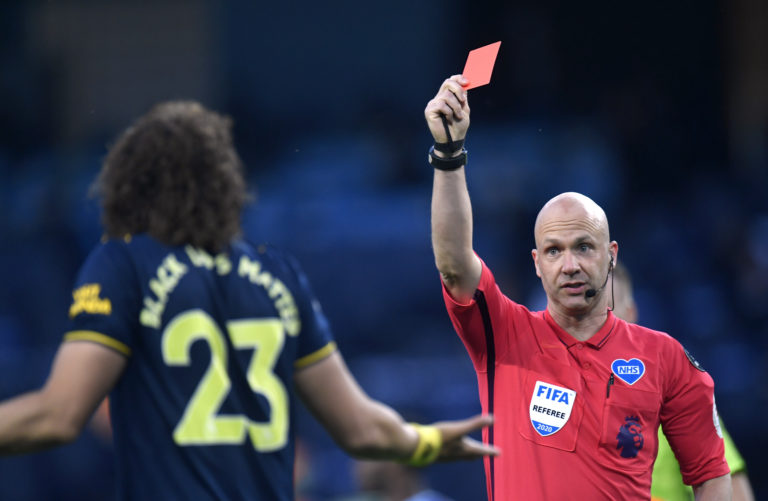 David Luiz was sent off having come on as a substitute at Man City.