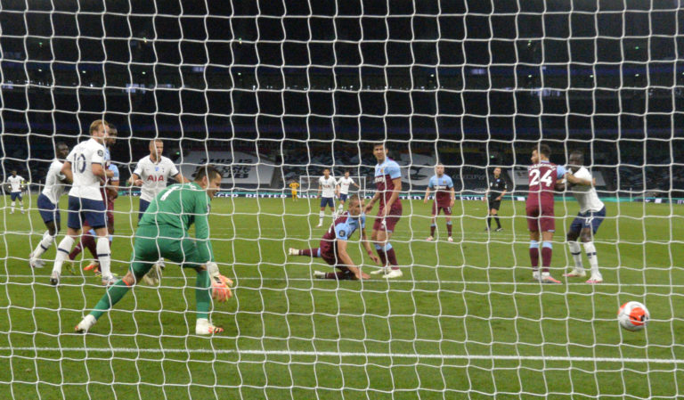 West Ham United's Tomas Soucek scores an own goal to give Spurs the lead