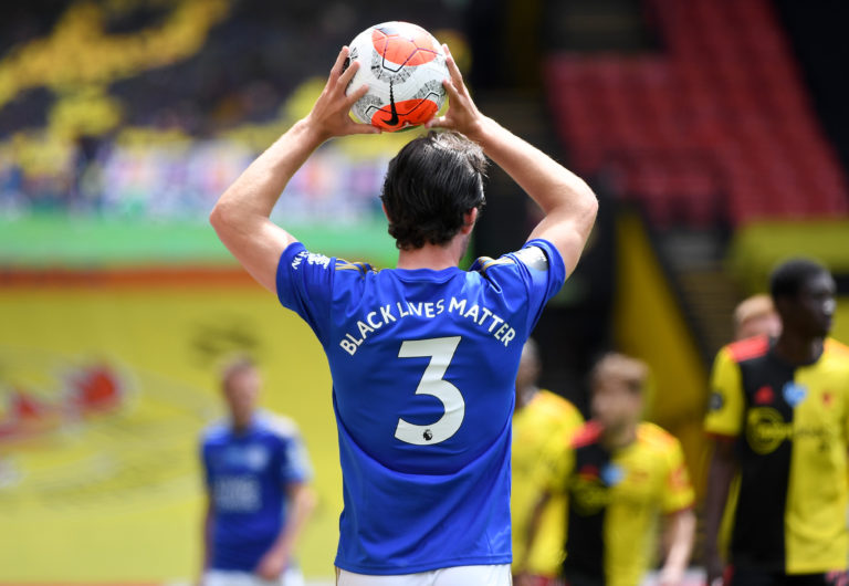 Leicester's Ben Chilwell takes a throw-in, with Black Lives Matter written on the back of his shirt