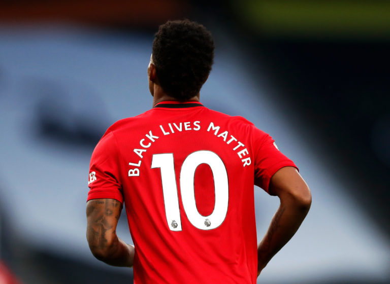Player names were replaced by the Black Lives Matter logo in the first round of fixtures in the restarted Premier League