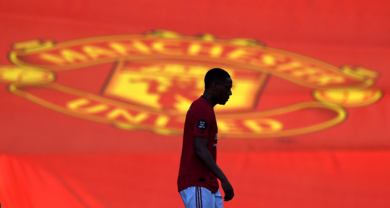 Anthony Martial scored his first Manchester United hat-trick in front of empty stands