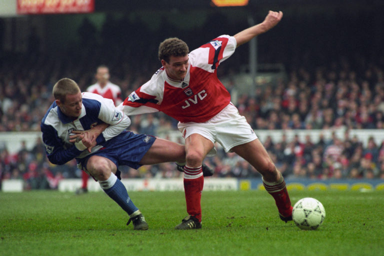John Jensen (right), who subsequently signed for Arsenal, netted Denmark's opener in the Euro 92 final (John Stillwell/PA).