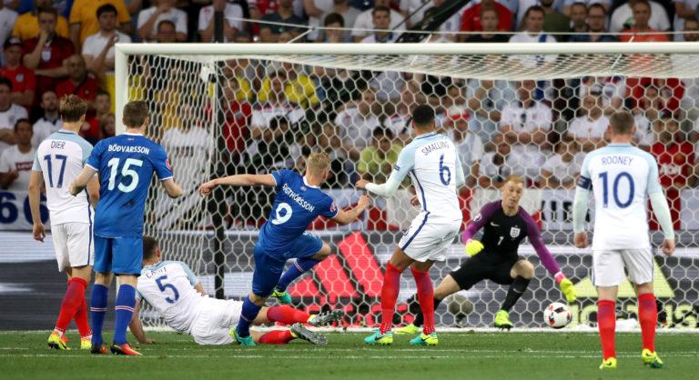 Kolbeinn Sigthorsson put Iceland 2-1 up against England (Nick Potts/PA).