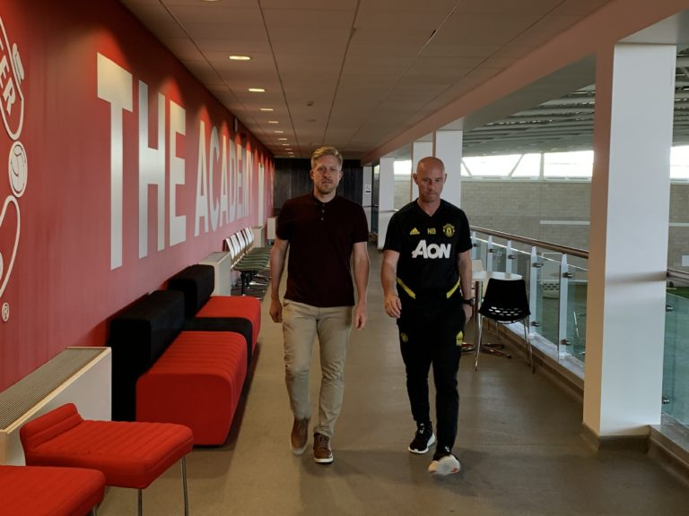 Manchester United head of first team development Nicky Butt (right) and head of academy Nick Cox
