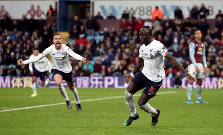Sadio Mane, right, sparked wild scenes of celebration at Villa Park in early November. The Senegal forward flicked home a stoppage-time winner as the Reds came from behind to win 2-1 in dramatic fashion thanks to two late goals
