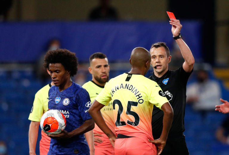 Fernandinho was sent off for handball