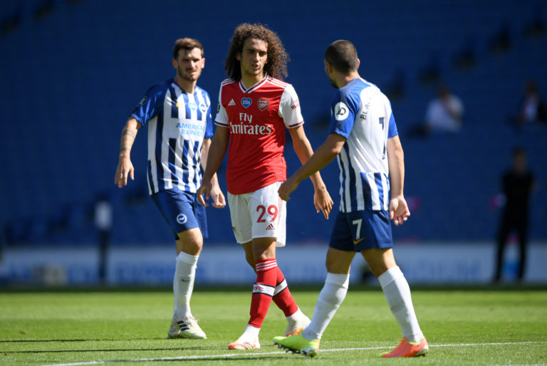 Matteo Guendouzi, left, argues with Brighton forward Neal Maupay