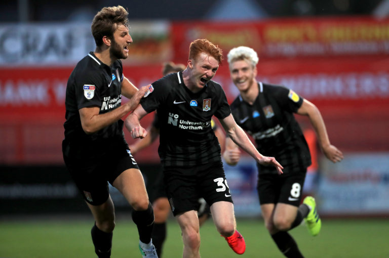 Callum Morton hit a brace as the Cobblers overturned a 2-0 defeat to secure their Wembley place.