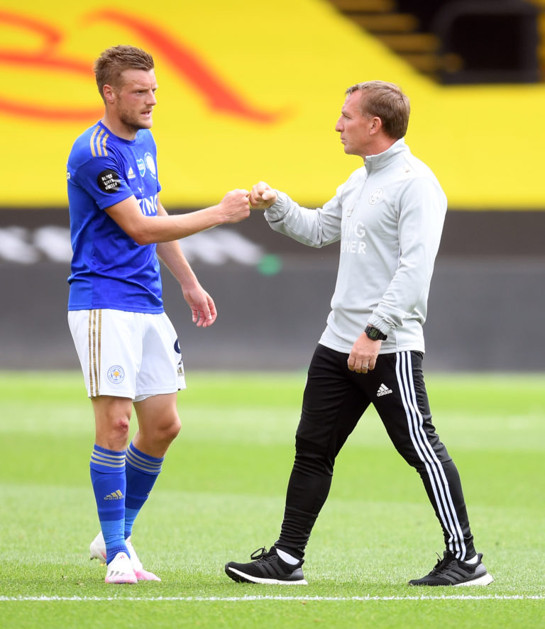 Leicester boss Rodgers (right) says others have to share the goalscoring burden