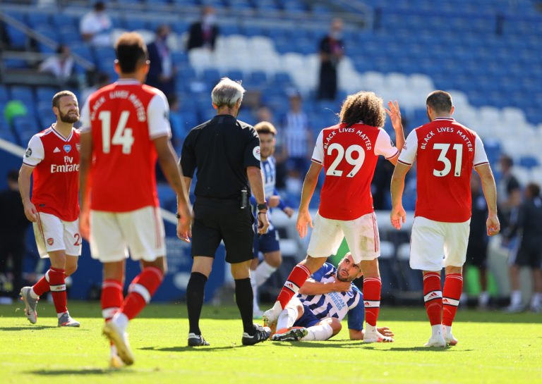 Arsenal's Matteo Guendouzi did not receive any punishment despite appearing to grab Neal Maupay by the throat