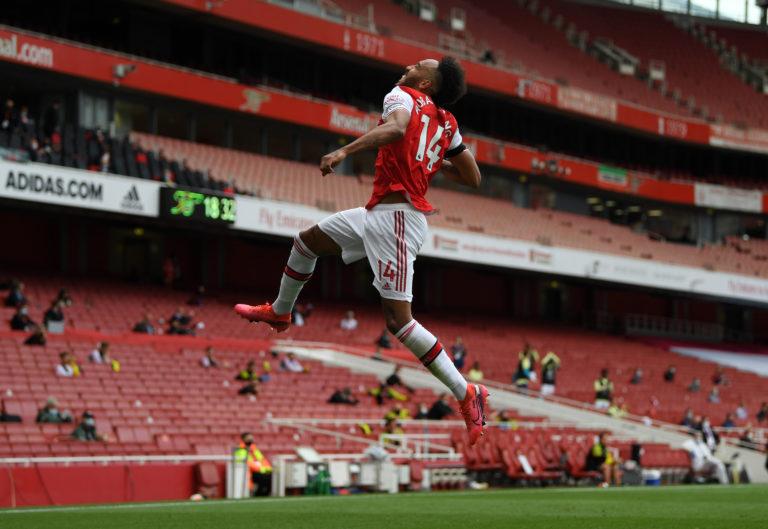 Aubameyang reached 50 Premier League goals for Arsenal against Norwich