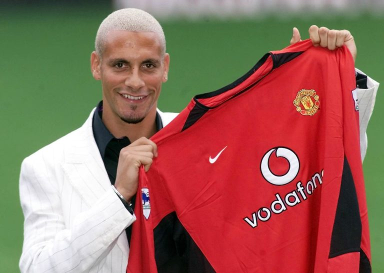 Ferdinand joined Manchester United from Leeds for around GBP 30million, a record British transfer fee at the time (Gareth Copley/PA).