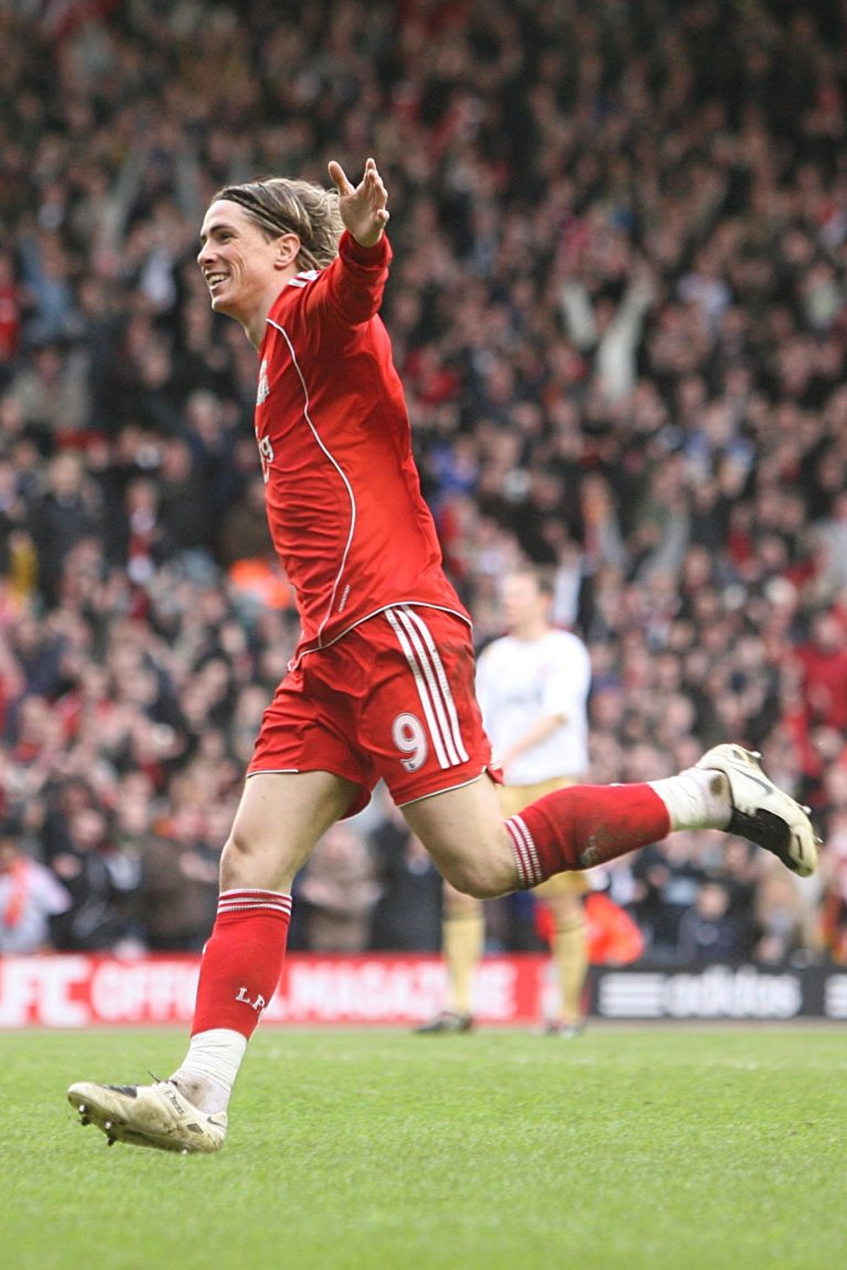 Torres celebrates the third goal of his hat-trick against Middlesbrough