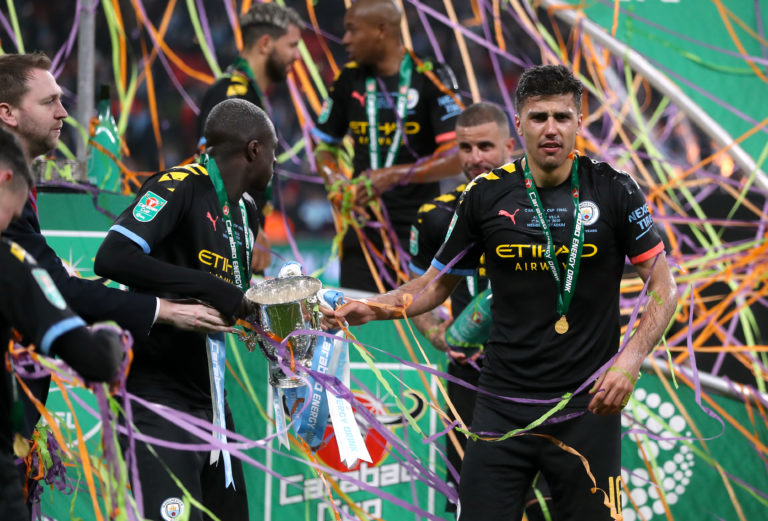 Rodri (right) was in the Manchester City side that won the Carabao Cup in March