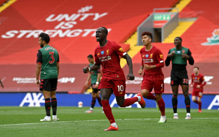 Sadio Mane scored Liverpool's opener against Aston Villa (Paul Ellis/NMC Pool/PA).