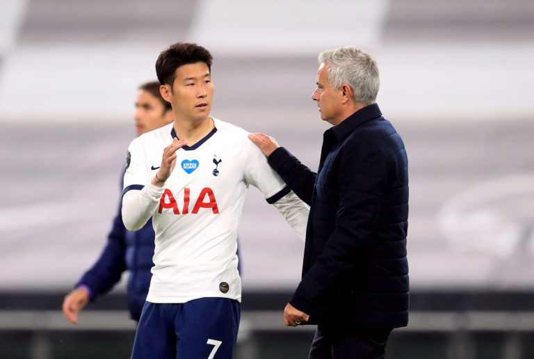Jose Mourinho, right, and Son Heung-min after the match