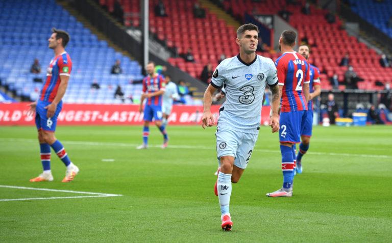 Christian Pulisic celebrates scoring Chelsea's second goal