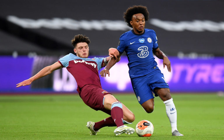 Declan Rice, left, has been rumoured to make a return to Chelsea this summer