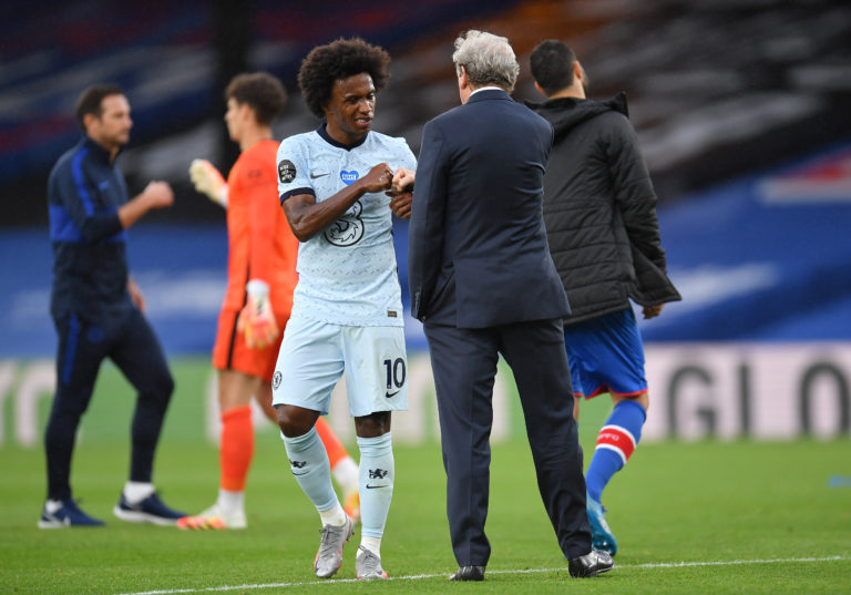 Willian, left, has scored or assisted in four consecutive Premier League games for Chelsea