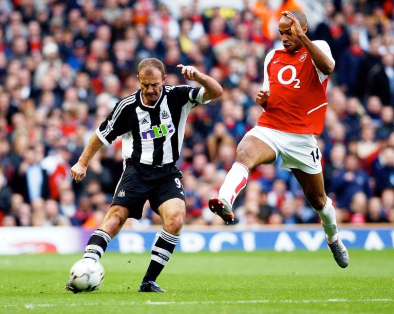 Former Newcastle captain Alan Shearer, left, and Arsenal great Thierry Henry are the only players to have won the Premier League golden boot in three successive seasons