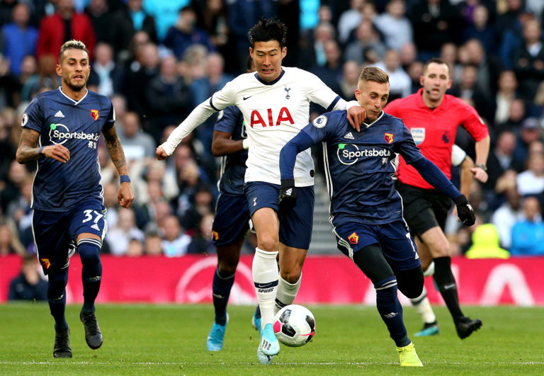 Watford's Gerard Deulofeu, right, was denied a clear penalty against Spurs