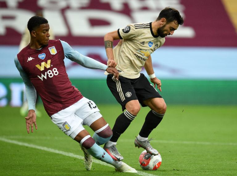 Aston Villa defender Ezri Konsa, left, was ruled to have fouled Manchester United's Bruno Fernandes
