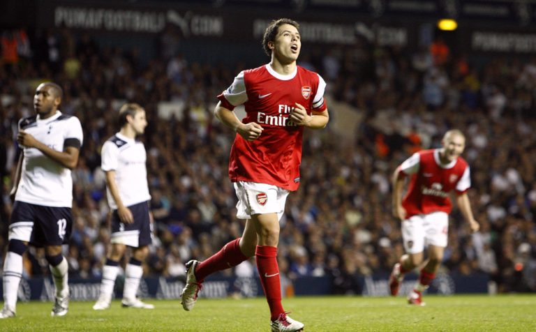 Nasri celebrates scoring a goal against Tottenham