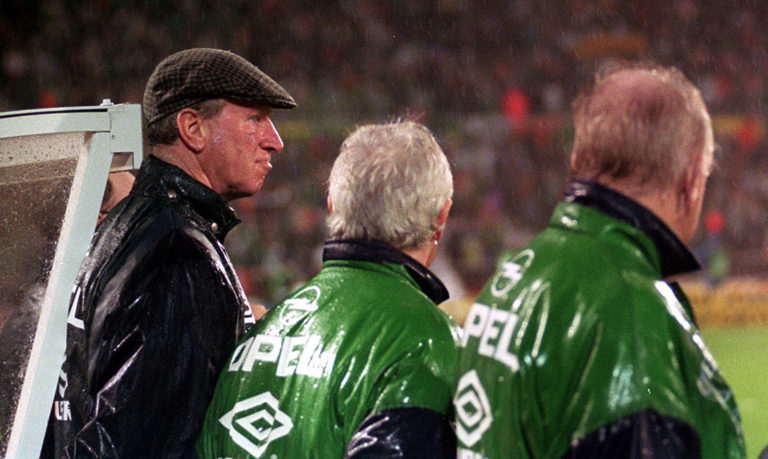 Jack Charlton, left, during his time in charge of the Republic of Ireland