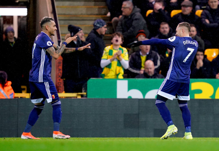 Watford's Gerard Deulofeu (right) celebrates scoring at Carrow Road